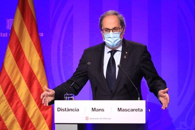El president de la Generalitat, Quim Torra, en roda de premsa en el Palau