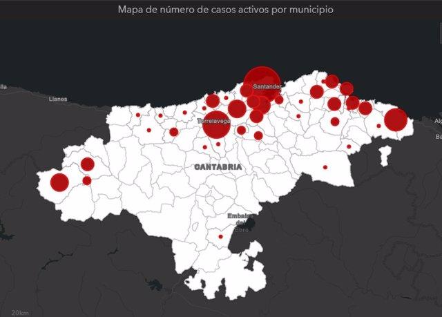 Mapa de casos activos en Cantabria