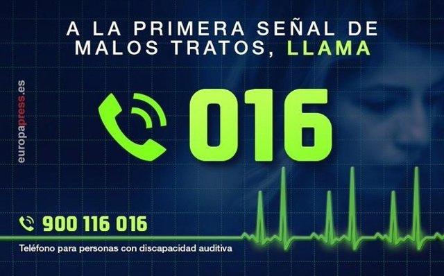 Teléfono de asistencia 016 para atender situaciones de violencia de género