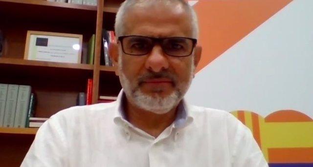El president de Cs en el Parlament, Carlos Carrizosa, aquest dimarts en roda de premsa telemàtica