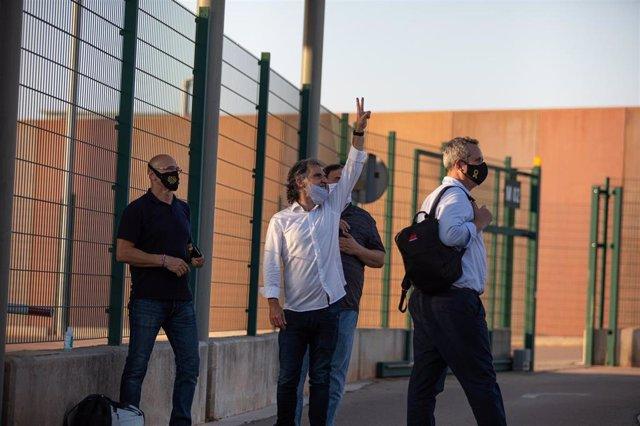 Los presos del 1-O, dentro del recinto penitenciario de Lledoners tras su comparecencia en Sant Joan de Vilatorrada, Barcelona, Catalunya (España), a 28 de julio de 2020.