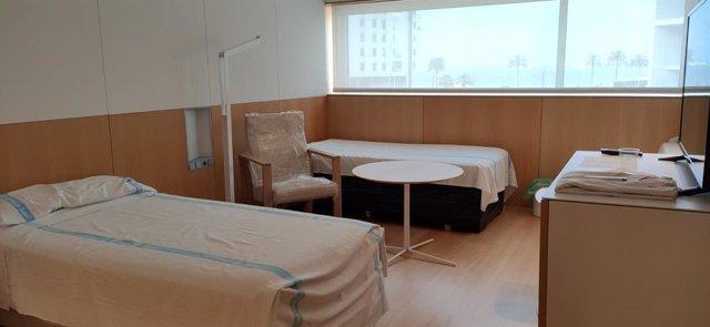 Habitación del Melià Palma Bay cuando fue medicalizado para acoger a pacientes de COVID-19.
