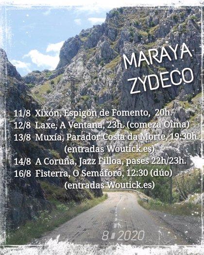 Maraya Zydeco inicia este miércoles en Laxe una gira de conciertos por la provincia de A Coruña