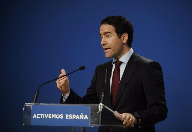 El secretari general del Partit Popular, Teodoro García Egea, intervé durant una roda de premsa després de la reunió del Comitè de direcció del PP a la seva seu al carrer Gènova, Madrid (Espanya), a 23 de juliol de 2020.