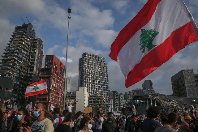 Ceremonia de homenaje a las víctimas de las explosiones de Beirut