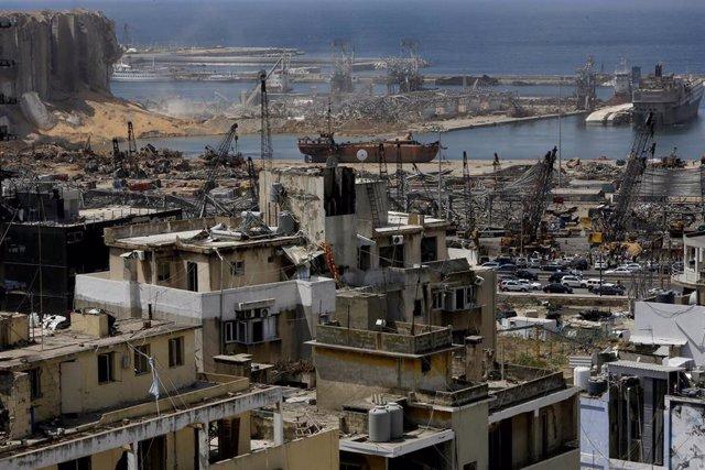 Daños causados por las explosiones en el puerto de la capital de Líbano, Beirut