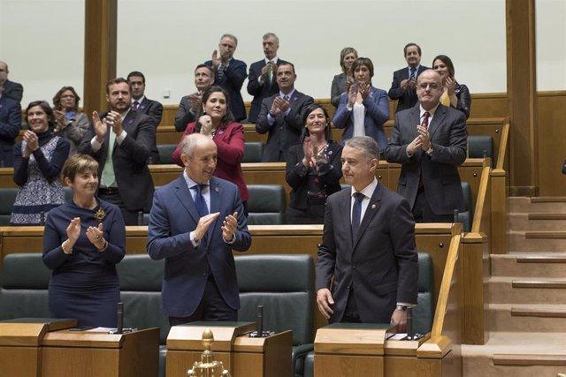 El Lehendakari, Iñigo Urklullu, en el pleno de investidura de 2016