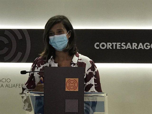 La diputada del PP, María Ángeles Orós, durante la rueda de prensa