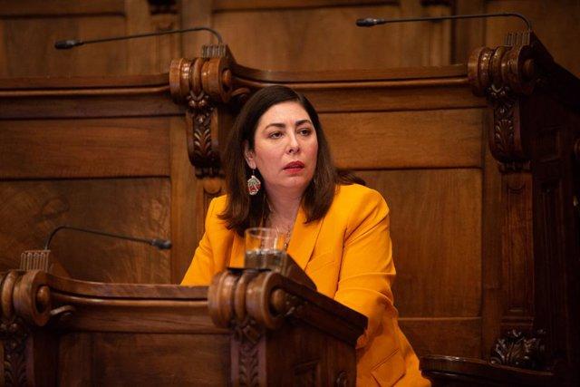 La regidor de Ciudadanos Luz Guilarte, durant la primera sessió plenària del Consell Municipal de l'Ajuntament de Barcelona després de la fi de l'estat d'alarma, a Barcelona, Catalunya (Espanya), a 26 de juny de 2020.