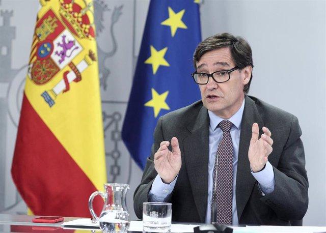El ministro de Sanidad, Salvador Illa, comparece en rueda de prensa posterior al Consejo de ministros celebrado en Moncloa, en Madrid (España), a 28 de julio de 2020.