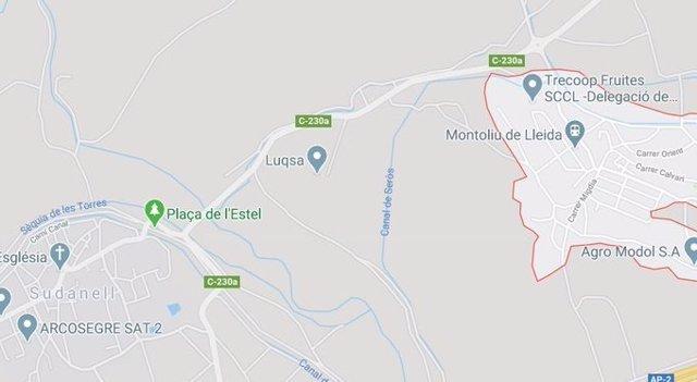 Mapa del lugar donde se ha producido una deflagración en una empresa química de Sudanell (Lleida)