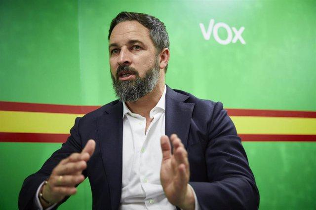 El presidente de Vox, Santiago Abascal, durante una entrevista con Europa Press en la sede del partido, en Madrid (España) a 4 de agosto de 2020.