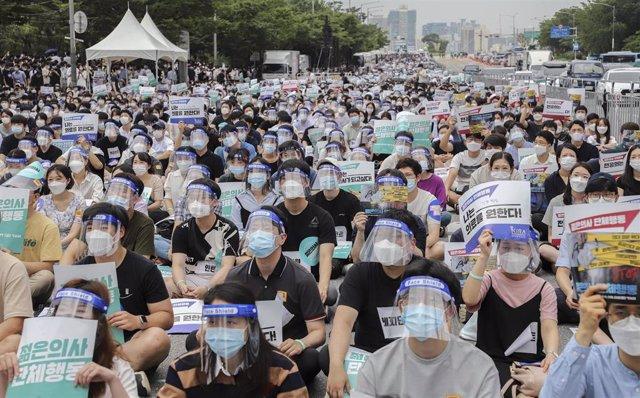 Huelga de estudiantes de medicina en Seúl.