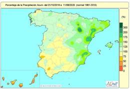 Las lluvias en lo que va de año hidrológico superan en un 14% los valores normales y tienen superavit todas las zonas excepto Canarias y áreas del cuadrante suroreste y centro de la Península.