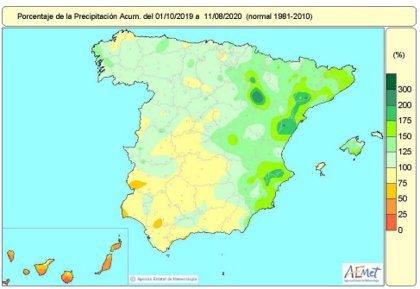 Las lluvias acumuladas en España este año hidrológico desde el 1 de octubre siguen un 14% por encima de lo normal