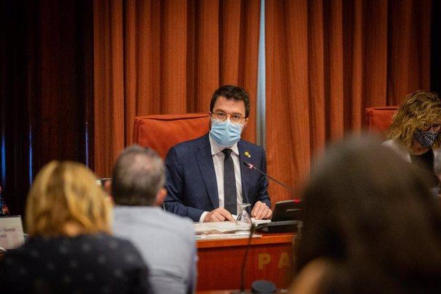 El vicepresidente de la Generalitat, Pere Aragonès, comparece en el Parlament de Catalunya para informar sobre la gestión del gasto sanitario extraordinario que ha comportado la crisis del Covid-19, en Barcelona, Cataluña (España), a 14 de julio de 2020.