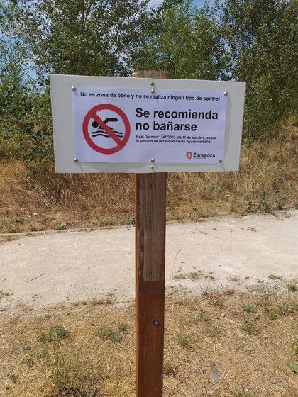 El Ayuntamiento de Zaragoza desaconseja el baño en la Peña del Cuervo, por la falta de calidad de sus aguas