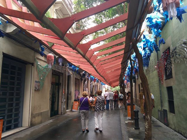 Calli Tordera en la Festa Major de Gràcia ambientada en un vaixell víking, el 16 d'agost de 2019.