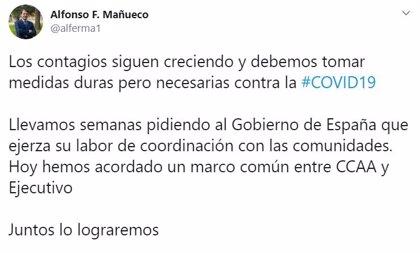 """Mañueco defiende las medidas """"duras pero necesarias"""" de Gobierno y CCAA contra la COVID: """"Juntos lo lograremos"""""""