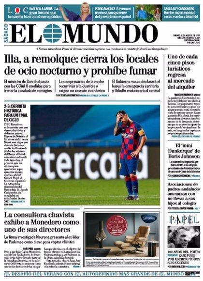 Las portadas de los periódicos del sábado 15 de agosto de 2020