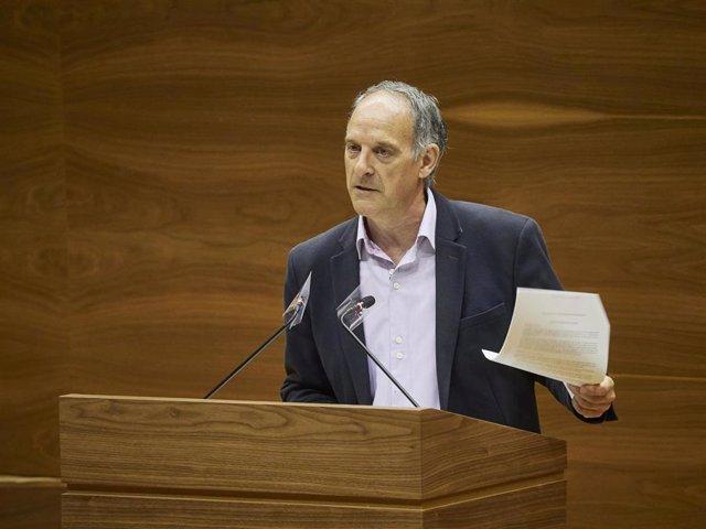 El portavoz de EH Bildu, Adolfo Araiz, interviene en el pleno del Parlamento de Navarra