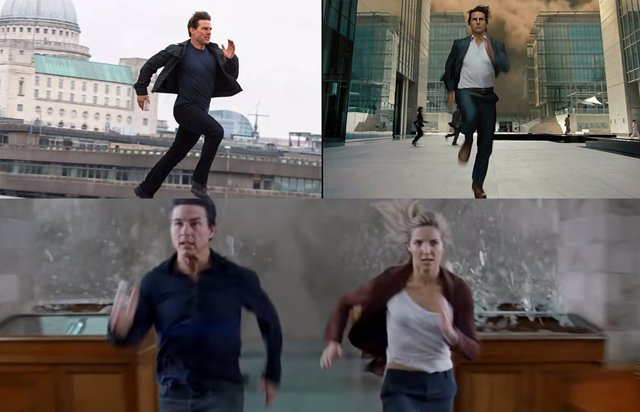 Tom Cruise corriendo solo y acompañado en Misión Imposible y The Mummy