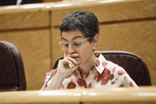 La ministra de Asuntos Exteriores, Unión Europea y Cooperación, Arancha González Laya, durante una sesión en el Senado