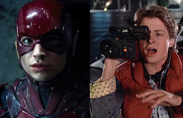 Ezra Miller como The Flash en Liga de la Justicia y Marty McFly en Regreso al Futuro