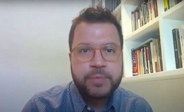 Pere Aragonès (ERC) en una reunió virtual amb altres partits sobre la monarquia