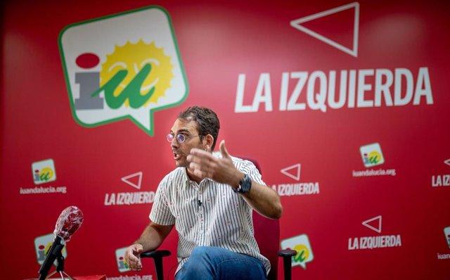 El coordinador andaluz de IU, Toni Valero, en una entrevista concedida a Europa Press.