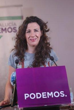 La coportavoz de Podemos Andalucía Libertad Benítez en rueda de prensa