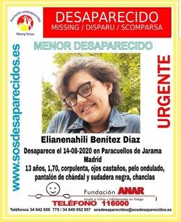 Desaparecida una menor de 13 años desde el viernes en Paracuellos de Jarama