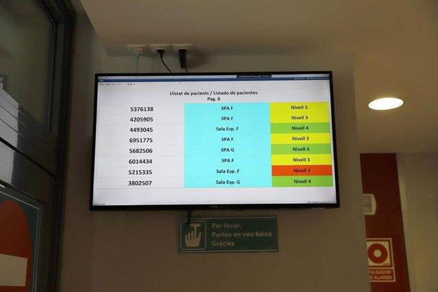 Pantalla de urgencias del Hospital Son Espases