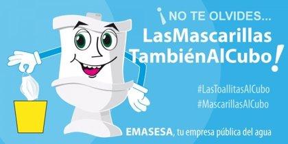 """Horizonte.-Campaña de concienciación de Emasesa para que guantes y mascarillas """"se desechen de forma segura"""""""