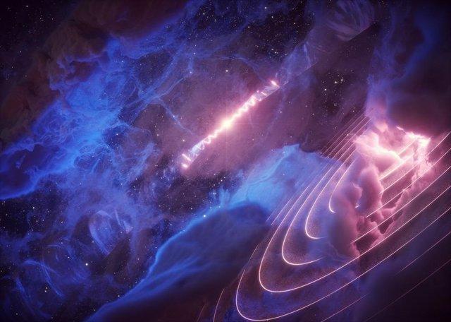 El microquasar SS 433 (al fondo) se balancea con un período de 162 días.