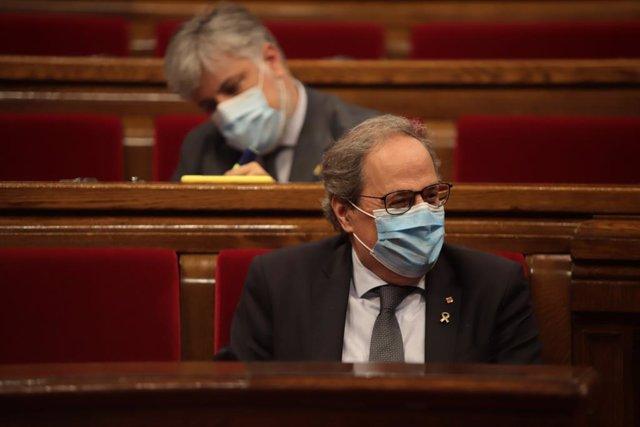 El president de la Generalitat, Quim Torra, en el ple del Parlament sobre la monarquia.