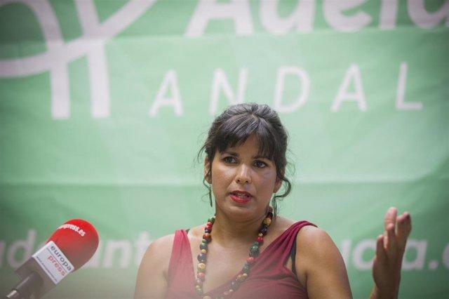 La presidenta del Grupo Parlamentario de Adelante Adalucía, Teresa Rodríguez, durante una entrevista para Europa Press. Foto de archivo