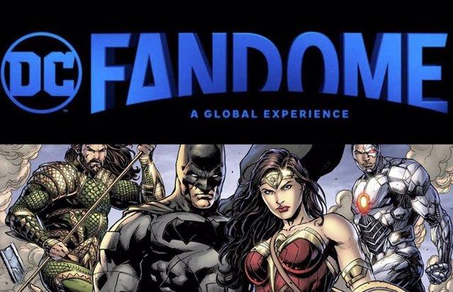 Los personajes de DC Comics junto al logo de DC FanDome
