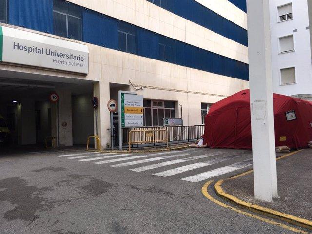 Carpa instalada para las Urgencias en el Hospital Puerta del Mar