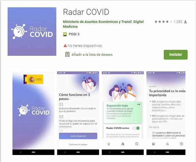 Pantallazo app Radar Covid