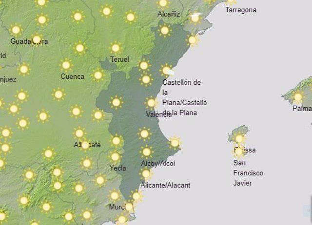 Previsión del tiempo en la Comunitat Valenciana, miércoles 19 de agosto.