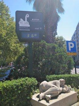 Termómetro a 36 grados, Zaragoza.