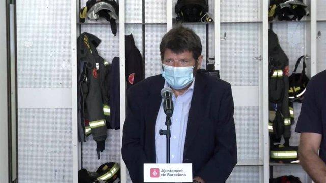 El tinent d'alcalde de Seguretat de Barcelona, Albert Batlle, en una roda de premsa
