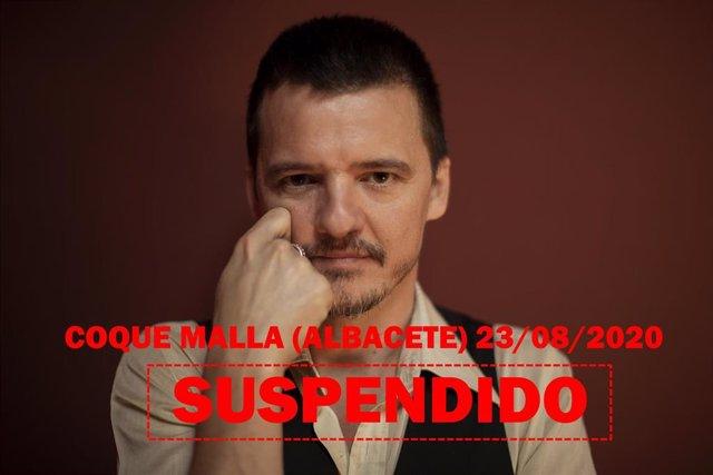 Cartel del concierto suspendido de Coque Malla en Albacete.