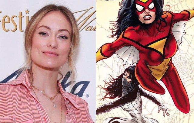 La actriz y directora Olivia Wilde junto a SPider-Woman de Marvel