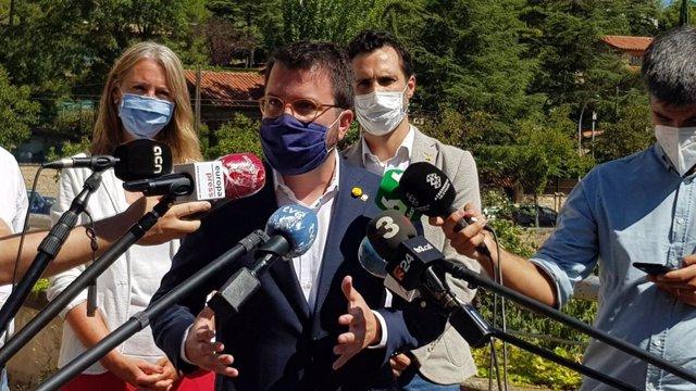 El vicepte.P.Aragonès participa en una reunió amb alcaldes d'ERC en contra de la cessió de romanents a l'Estat