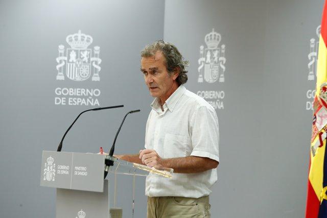 El director del Centro de Coordinación de Alertas y Emergencias Sanitarias (CCAES), Fernando Simón, durante una comparecencia ante los medios para informar sobre las últimas novedades respecto a la crisis sanitaria del Covid-19