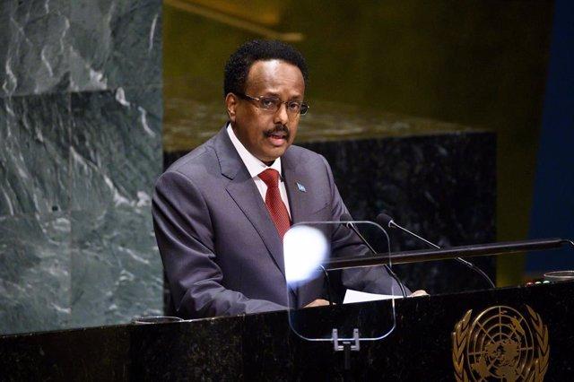 El presidente de Somalia, Mohamed Abdulahi 'Farmajo' interviene ante la Asamblea
