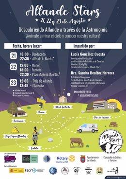 Cartel de las jornadas divulgativas 'Allande Stars', organizadas por el IAC.