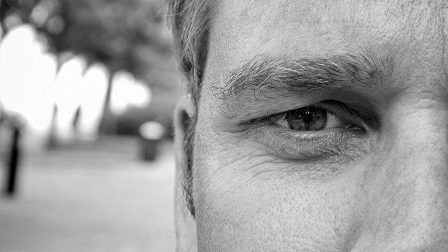 Close-up of intense face.